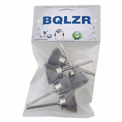 """Silvery Bowl Shape 25MM dia Stainless Steel Wire Brush Drill End 1/8"""" shank 5pcs"""