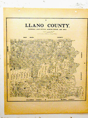Old Llano County Texas General Land Office Owner Map Horseshoe Bay Kingsland