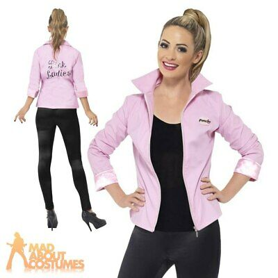 Ladies Pink 50/'s Girl Pink Lady Ladies Grease Jacket Fancy Dress Size 10-14