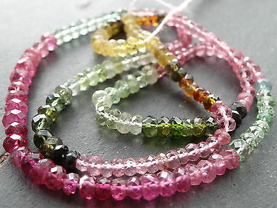 35cts HAND FACETED TOURMALINE 3.4mm - 4.3mm rondelle beads, 14""