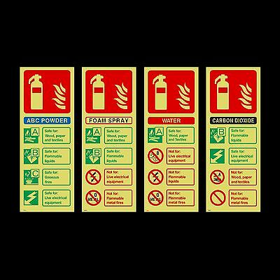 Fire Extinguisher ID Photoluminescent Sign, Sticker - All Materials