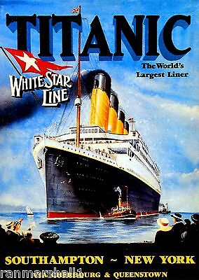 1912  Titanic White Star Largest Liner Art Travel Advertisement Poster Print
