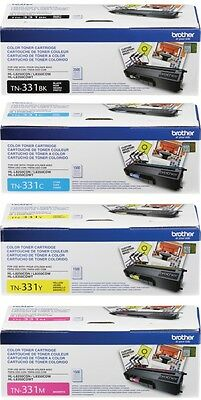Genuine Oem Brother Tn331Bk Tn331C Tn331Y Tn331M Toner Set (4-Pack) Mfc-L8850Cdw