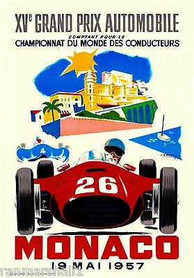 1957 Monaco French Grand Prix Art Automobile Race Advertisement Vintage Poster