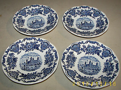 Enoch Wedgwood Tunstall Royal Homes Of Britain Set of 4 Blue Saucers
