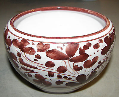 Handmade in Italy Hand Painted Ceramic Bowl Brown Flowers UNIQUE Vintage