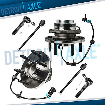 NEW 6 pc Kit: 2 Front Wheel Hub & Bearing Assembly + Inner Outer Tie Rod End 2WD
