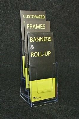 4 Slot Trifold Pamphlet Magazine Catalogue Brochure Holder Clear Office Display