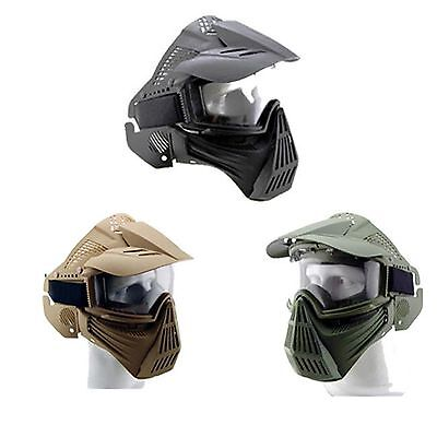 New Airsoft Face Guard ABS  Neck Protection Mask with Goggles BK Tactical Gear