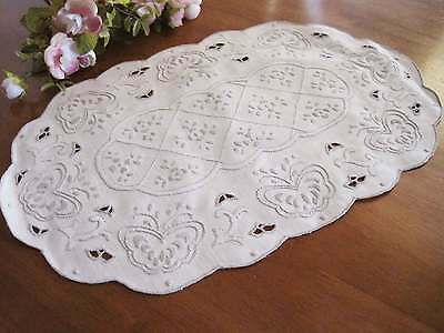 Butterfly Hand Shadow Stitch Embroidery Cutwork Beige Cotton Doily Topper