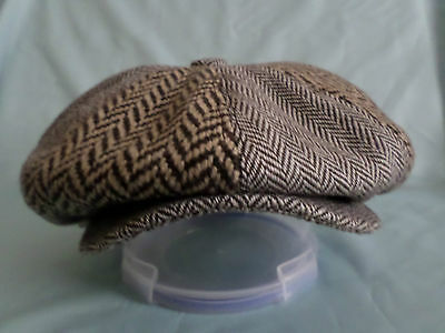 Mens 2 Tone Brown Herrinbone Baker Boy Cap Newsboy Paperboy Cabbie 8-Panel Hat