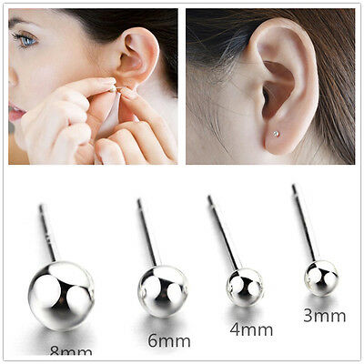 Pure 925 Sterling Silver Ball Bead Unisex Ear Stud Charms Earring All Size 3-8mm