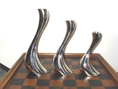Set Of 3 Georg Jensen Stainless Cobra Candle Holders + Pair Of Candles