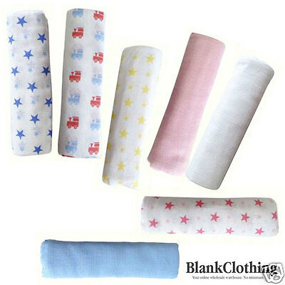 Muslin Wrap Blanket Newborn Baby Plain & Patterned | Elephant | Pack of 2 - NEW