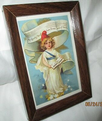 July 4 th. Framed Postcard, Vintage Reproduction, 5 inches by 7 inches