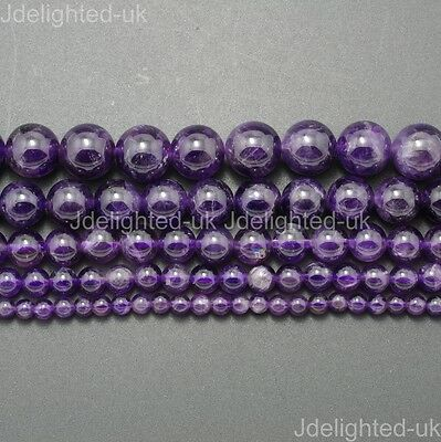 Natural Amethyst Gemstone Round Loose Beads 4mm 6mm 8mm 10mm 12mm 16'' Strand