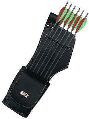 Synthetic Leather Side/hip Quiver With Pocket Archery Products Saq-142 Left Hand