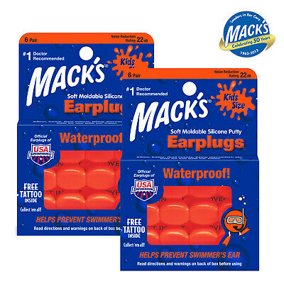 MACKS PILLOWSOFT Orange Silicone Earplugs For KIDS - 12 Pairs - FREE UK P&P!