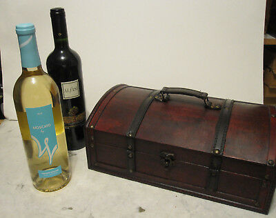 Antique Looking Wood Wine Box Holder for 2 Bottles With Handle