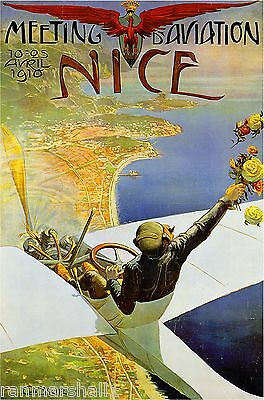 1910 Aviation Nice France French Vintage European Travel Poster Advertisement