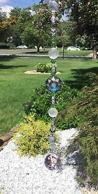 Handmade Green Crystal Swarovski Element Suncatcher W/Crystal Feng Shui Ball USA