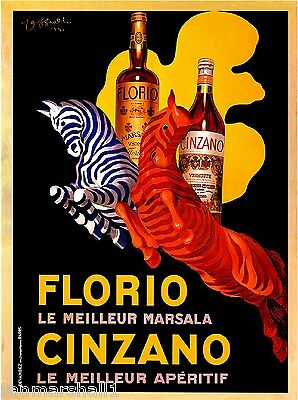 Florio Cinzano Zebras Marsala Vermouth Vintage Advertisement Art Poster Print