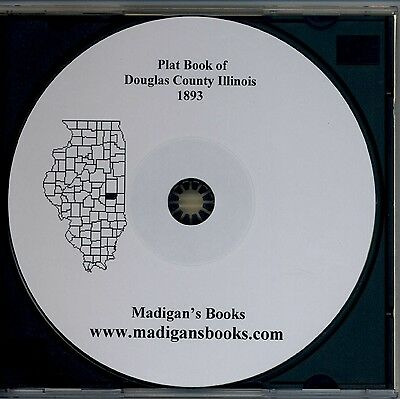 Douglas Co Illinois IL 1893 Atlas  plat book genealogy  history land owners CD