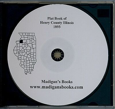 Henry Co Illinois IL 1893 Atlas  plat book genealogy  history land owners CD