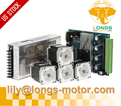 4Axis Nema 23 Stepper Motor 290oz-in & Driver Board&Power CNC Router Kit LONGS