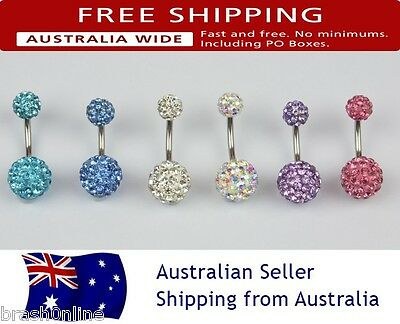 Crystal Disco Ball Belly Ring Navel Bar Shamballa Ab Clear 316 Surgical Steel