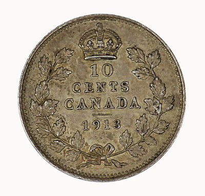 Canada 1913 Ten Cent Coin TONED UNC