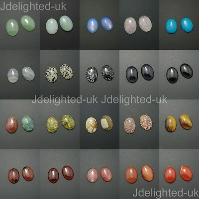 Natural Mixed Gemstone Oval Cabochon CAB Flatback Reiki Chakra Beads 22mm x 30mm