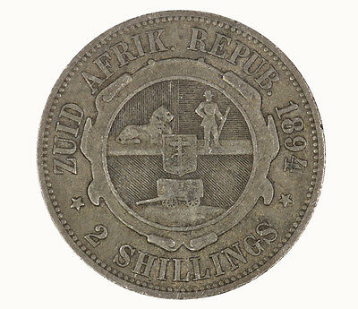 South Africa 1894 Two Shilling Coin gF