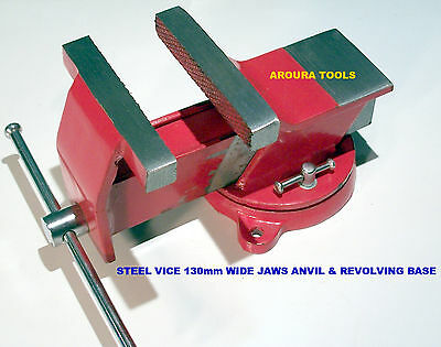 """VICE STEEL 130mm (5"""") WIDE JAWS  BENCH TYPE WITH SWIVEL BASE & ANVIL- NEW IN BOX"""