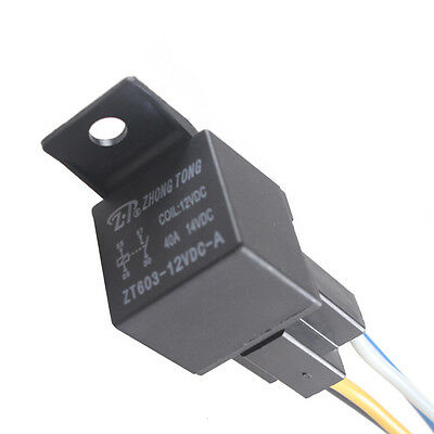 Sales Black DC 12V 40A SPST Premium Relay & Socket 4Pin 4P 4 Wire For Car Auto