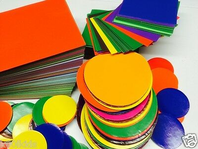 400  Children Craft Gummed Papers,10 Colours 4 Sizes  Arts & Crafts Free Postage