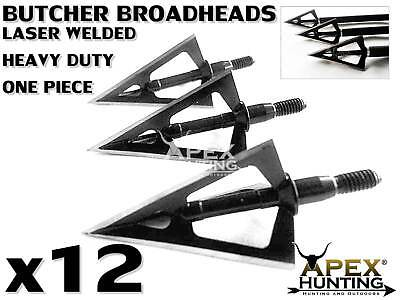 12X One Piece Laser Welded 3 Bladed Butcher Broadheads For Compound Bow Archery