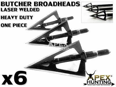 6X One Piece Laser Welded 3 Bladed Butcher Broadheads For Compound Bow Archery