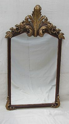 """Victorian Rococo Style Rosewood Mirror With Gold Gilt Floral Crest - 62"""" Tall"""