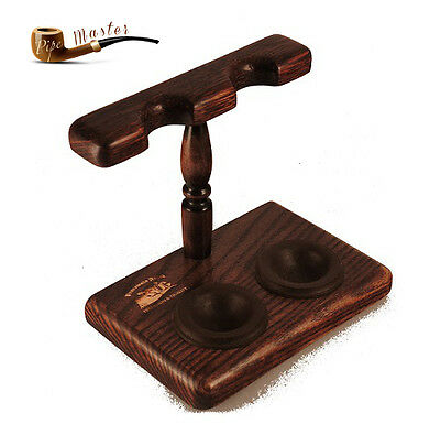 Mr.Brog HAND MADE WOODEN STAND / RACK / HOLDER OAK  for 2 Smoking Pipes   No. F2