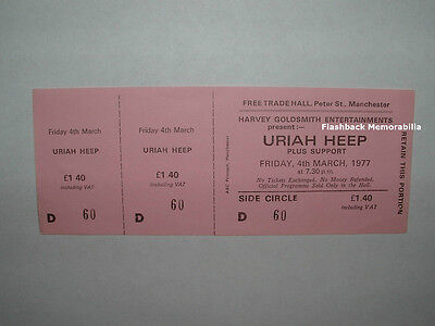 URIAH HEEP Unused MINT 1977 Concert Ticket MANCHESTER U.K. FREE TRADE HALL Rare