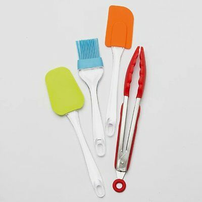 4Pc Silicone Kitchen Tool Set  2 Spatulas, Basting Brush and Tongs 9 inch