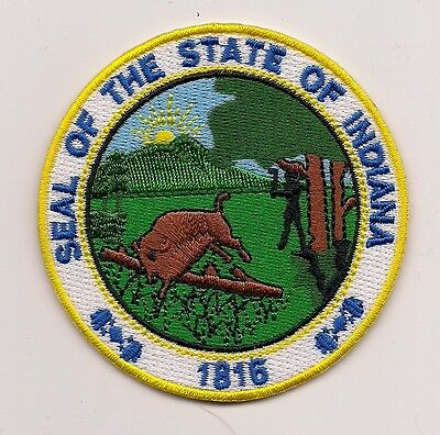 COLORFUL SOUVENIR PATCH - THE STATE OF INDIANA- SEAL -1816