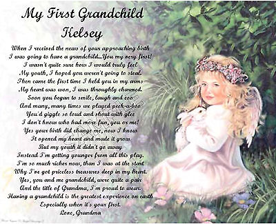 First Grandchild  Personalized Art Poem Memory Birthday Gift