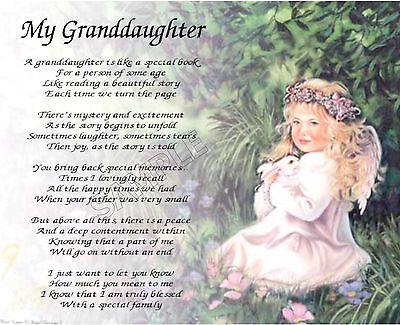 My Granddaughter Personalized Art Poem Memory Birthday Gift