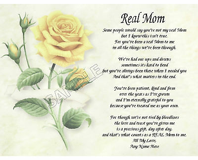 Real Mom Personalized Art Poem Memory Birthday Mother's Day Gift