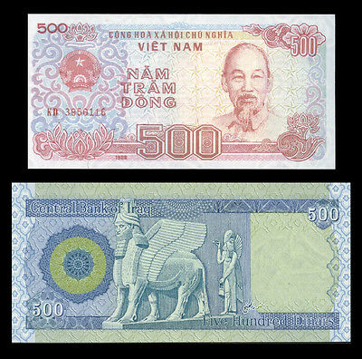 500 Iraqi Dinar   * A Free 500 Viet Nam Dong With Every Dinar Note Purchased *