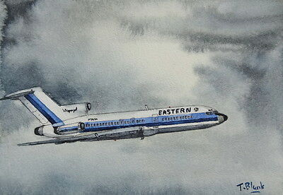 ORIGINAL AQUARELL - Eastern Airlines, Boeing 727-100.