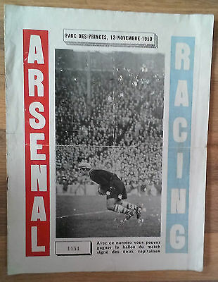 Racing Paris v. Arsenal 13/11/1950 Friendly