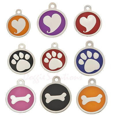 Luxury Round Pet id Tags with Hearts, Bones or paw prints for Dogs engraved zinc